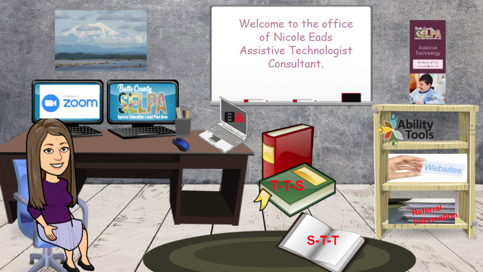 "Image of our Assistive Technology Specialist Nicole Eads' interactive ""Virtual Office"" in Google Slides."