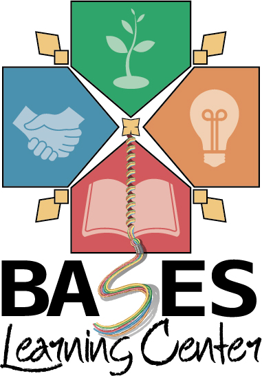 "logo image for BASES Learning Center is four home bases pointing at each other with each having its own image.  The green base at the top has a seedling sprouting, the blue base on the left has hands shaking, the orange base at the right has a light bulb, and the red base at the bottom has an open book.  The book has a bookmark that becomes a tassel that becomes the ""S"" of the middle ""S"" in ""BASES."""