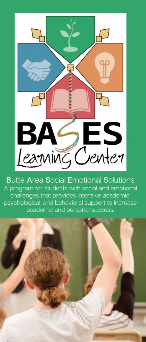 Front cover of trifold SELPA brochure describing BASES Learning Center programs