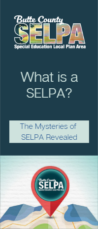 Front cover of trifold brochure describing what a SELPA is and does.