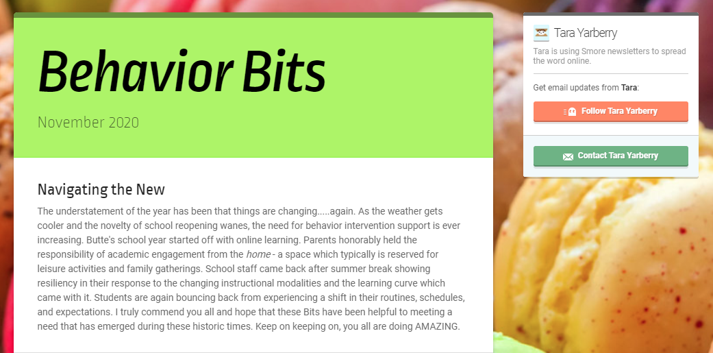 "Part of the front page of the S'More Newsletter called ""Behavior Bits"" which links to the actual newsletter for more information and a video by the board certified behavior analyst.  This is the July edition."