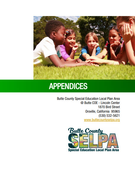 cover of the Appendices to the Butte County SELPA Procedural Manual that links to the document.