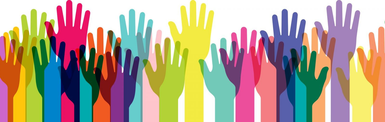 Graphic art image of different colored hands reaching to the sky.
