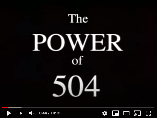 Image of the beginning of YouTube video on the Power of 504.