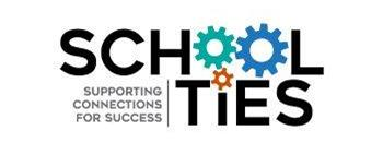 "The logo for Butte County Office of Education ""School Ties"" office, whose motto is ""Supporting Connections for Success.""  The words form gears in motion."
