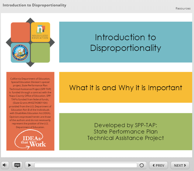 image of the first slide of closed captioned video on what disproportionality is and how to address it.
