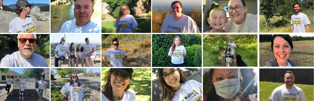 Collage of staff in their Chico Autism Walk T-Shirts